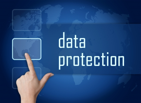 Data Protection concept with interface and world map on blue background photo