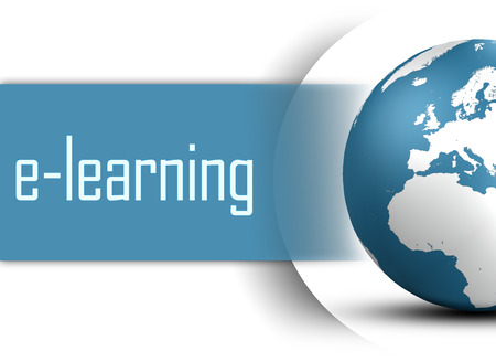 virtual classroom: E-learning concept with globe on white background