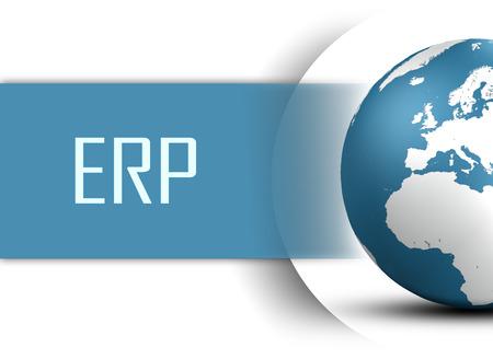 Enterprise Resource Planning concept met globe op een witte achtergrond Stockfoto