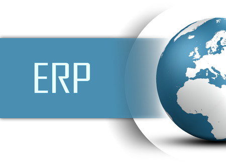 Enterprise Resource Planning concept with globe on white background