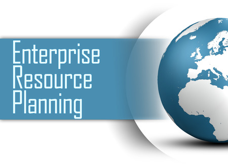 erp: Enterprise Resource Planning concept with globe on white background