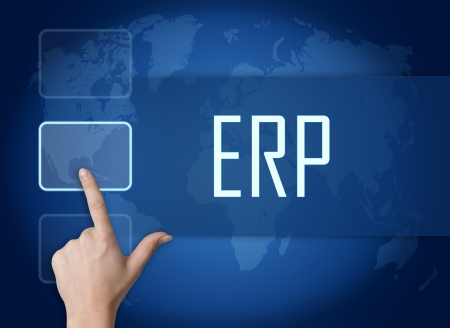 Enterprise Resource Planning concept with interface and world map on blue background photo