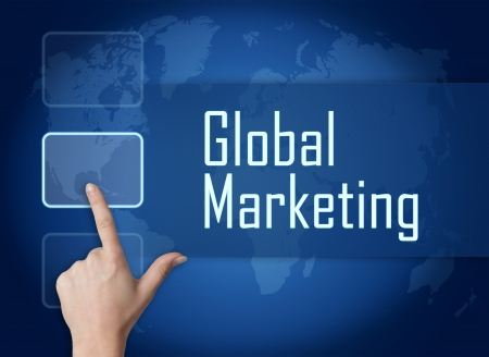 Global Marketing concept with interface and world map on blue background photo