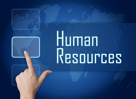Human Resources concept with interface and world map on blue background photo