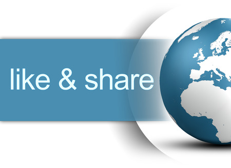 like and share concept with world globe on white background Stock Photo - 22821344