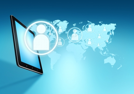 Modern communication technology illustration with social icons and devices on world map Stock Illustration - 22821345