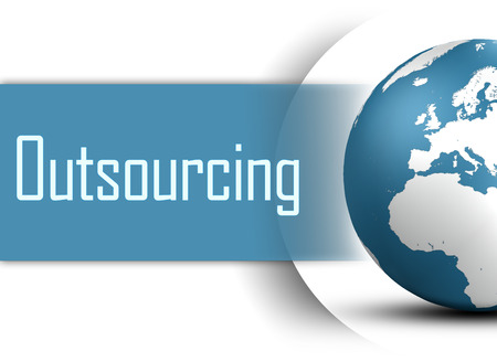 out of production: Outsourcing concept with globe on white background