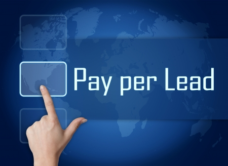 Pay per Lead concept with interface and world map on blue background photo