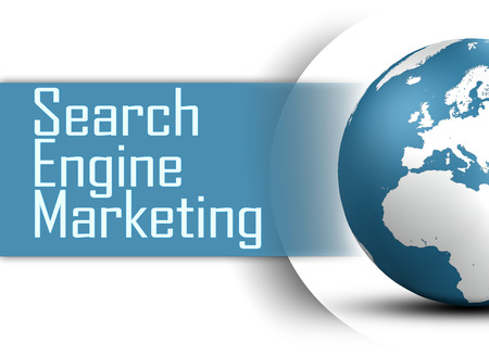 Search Engine Marketing concept  with globe on white background photo