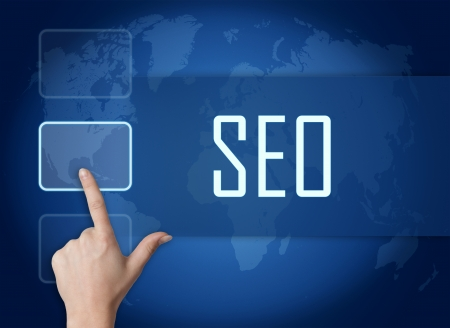 Search Engine Optimization concept with interface and world map on blue background photo