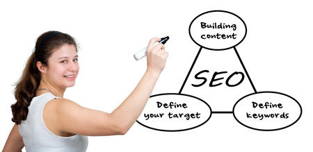 Young businesswoman drawing SEO process information concept on whiteboard.  photo