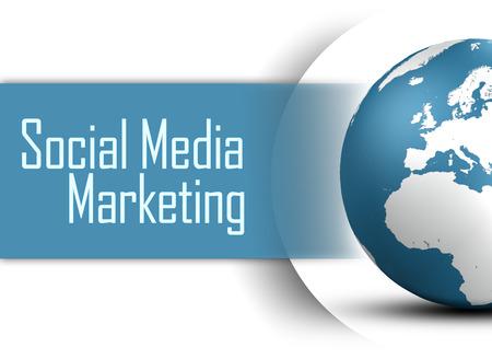 smm: Social Media Marketing concept  with globe on white background Stock Photo