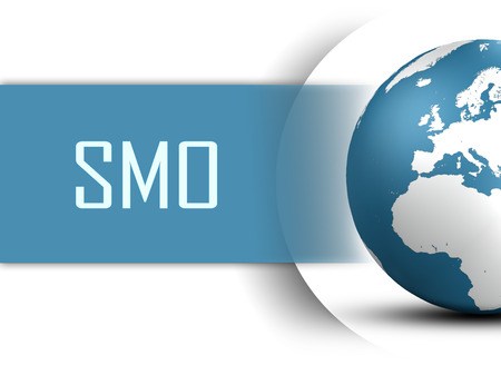 smo: Social Media Optimization concept with globe on white background