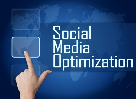 Social Media Optimization concept with interface and world map on blue background photo