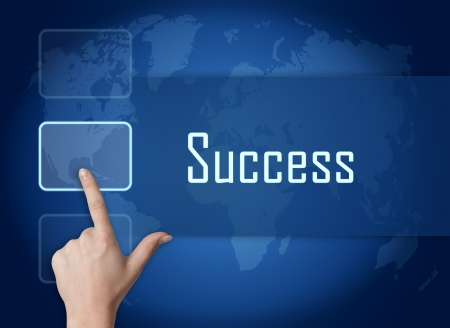 Success concept with interface and world map on blue background photo