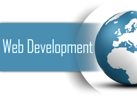 Web Development concept with globe on white background