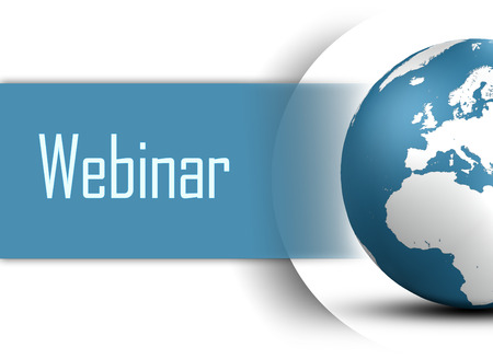 virtual classroom: Webinar concept with globe on white background