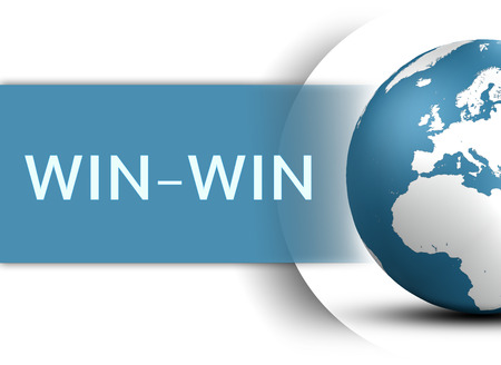 Win-Win concept with globe on white background photo