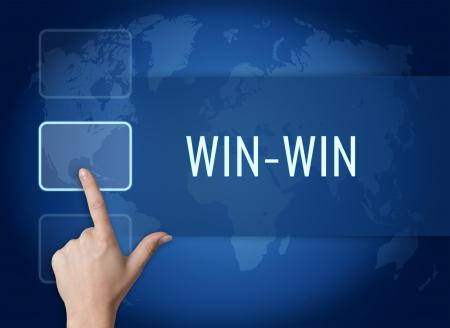 conflicto: Ganar-ganar concepto con la interfaz y mapa del mundo sobre fondo azul Foto de archivo