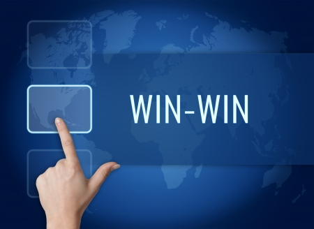 Win-Win concept with interface and world map on blue background