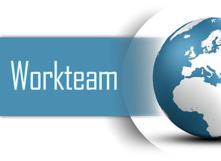 workteam: Workteam concept with globe on white background