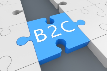 Business to customer - puzzle 3d render illustration