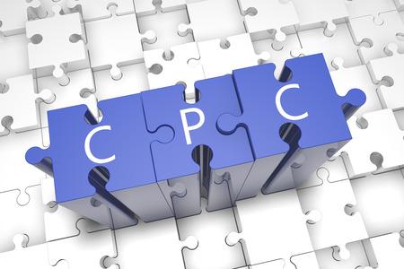 acquire: Cost per Click - puzzle 3d render illustration Stock Photo
