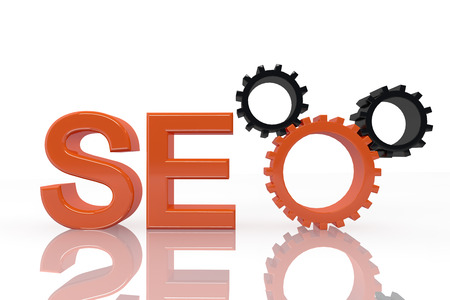 SEO - Search Engine Optimization symbol with gears - 3d render photo