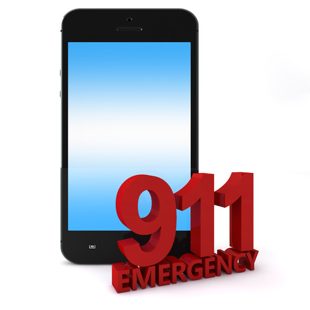 emergency response: 3d rendering of an mobile phone  with 911 emergency number