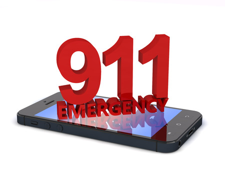emergency number: 3d rendering of an mobile phone  with 911 emergency number
