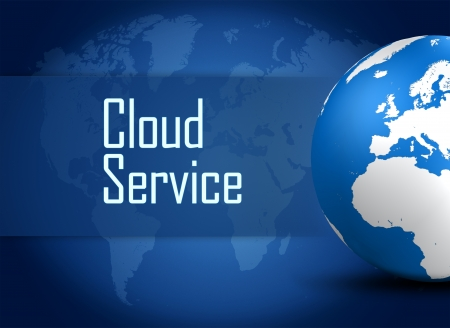 Cloud Service concept with globe on blue background photo