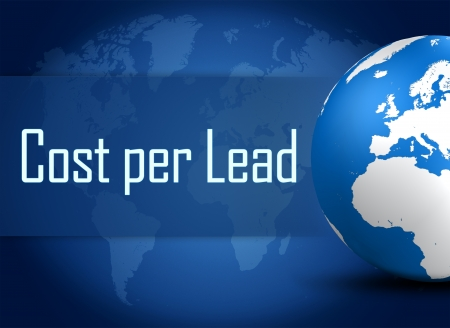 acquire: Cost per Lead concept with globe on blue background Stock Photo