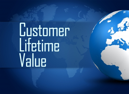 lifetime: Customer Lifetime Value concept with globe on blue background