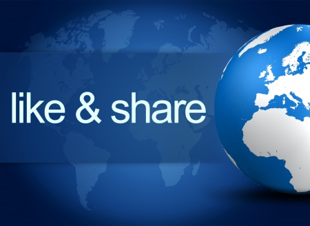 like and share concept with world globe on blue background photo