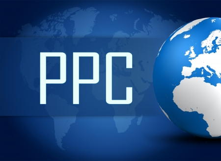 Pay per Click concept with globe on blue background photo