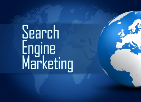 search engine optimization: Search Engine Marketing concept  with globe on blue background