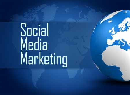 Social Media Marketing concept  with globe on blue background photo