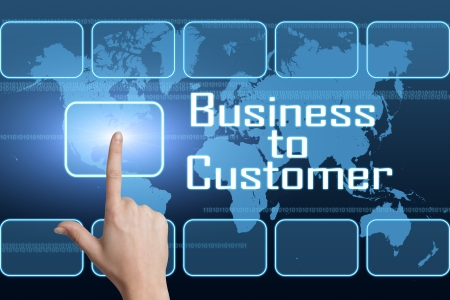 Business to Customer concept with interface and world map on blue background photo