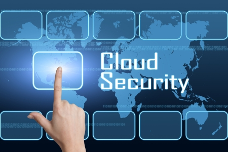 Cloud Security concept with interface and world map on blue background photo