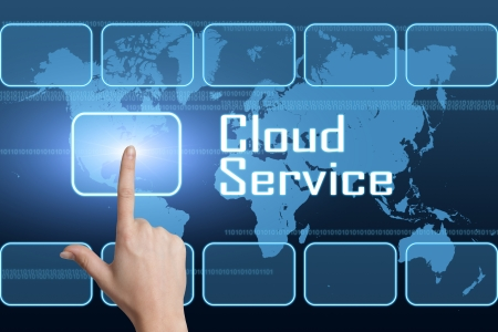 Cloud Service concept with interface and world map on blue background photo