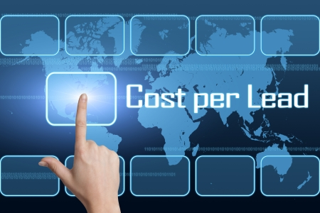 advertiser: Cost per Lead concept with interface and world map on blue background Stock Photo