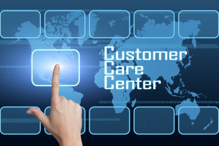 customer care: Customer Care Center concept with interface and world map on blue background