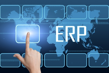 erp: Enterprise Resource Planning concept with interface and world map on blue background