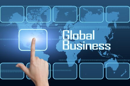 Global Business concept with interface and world map on blue background