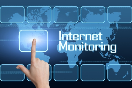 Internet Monitoring concept with interface and world map on blue background photo