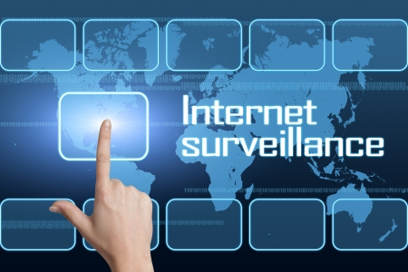 Internet surveillance concept with interface and world map on blue background photo