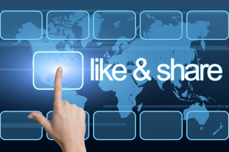 like and share concept with interface and world map on blue background photo