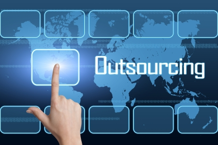 Outsourcing concept with interface and world map on blue background
