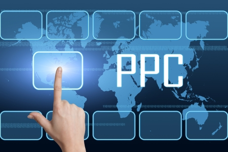 Pay per Click concept with interface and world map on blue background photo