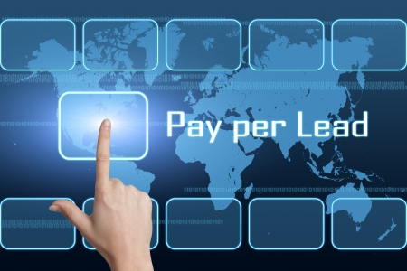 advertiser: Pay per Lead concept with interface and world map on blue background